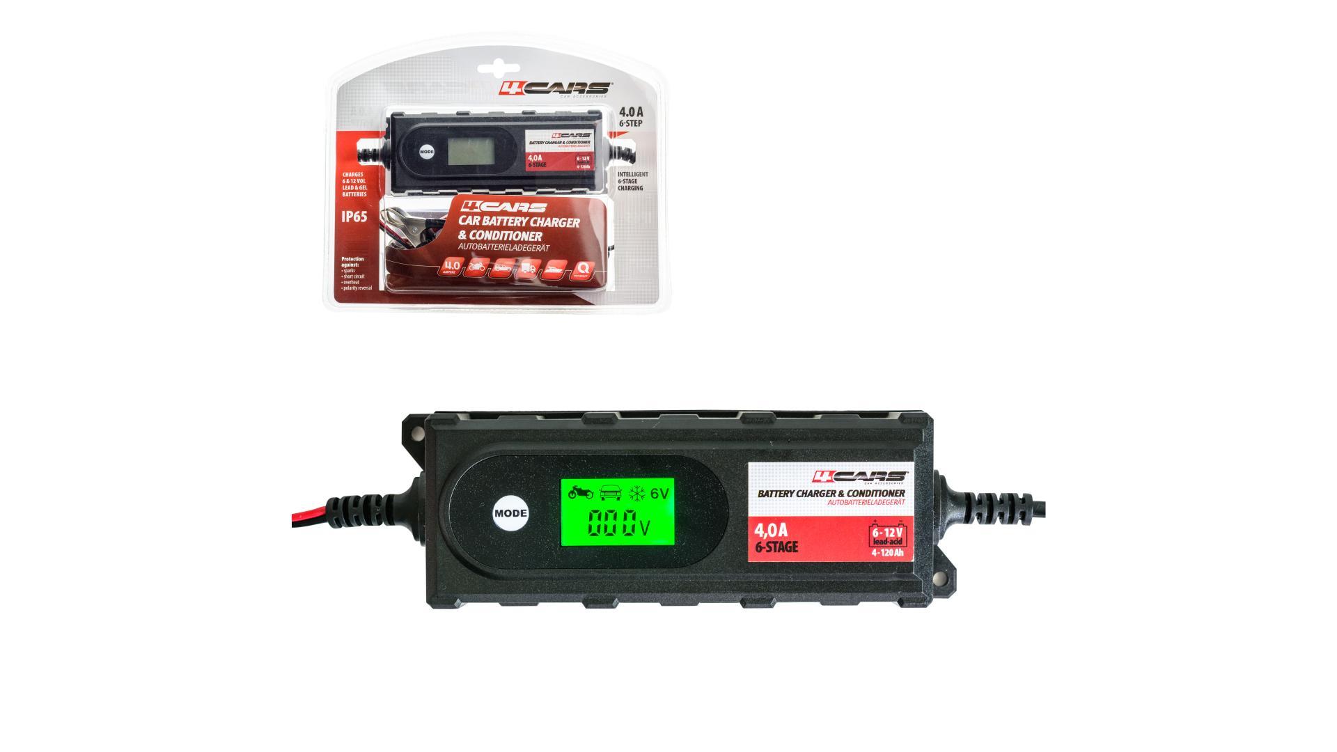 4CARS Inteligentní 6-stupňová nabíječka-udržiavačka BT-B4.2; 6/12 V; 4,2 A (gelové a tekuté autobatérie)