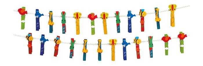 Small Foot Dřevěné dekorativní kolíčky na prádlo zvířata 24ks