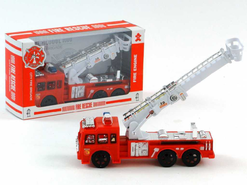Hasiči požární vozidlo na setrvačník výsuvný žebřík na baterie v krabici plast