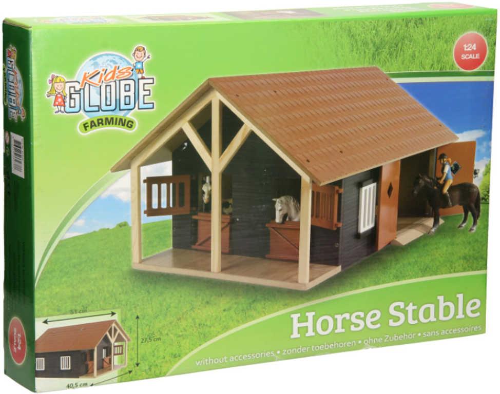 DŘEVO Stáj pro koně se 2 boxy 1:24 malý farmář *DŘEVĚNÉ HRAČKY*