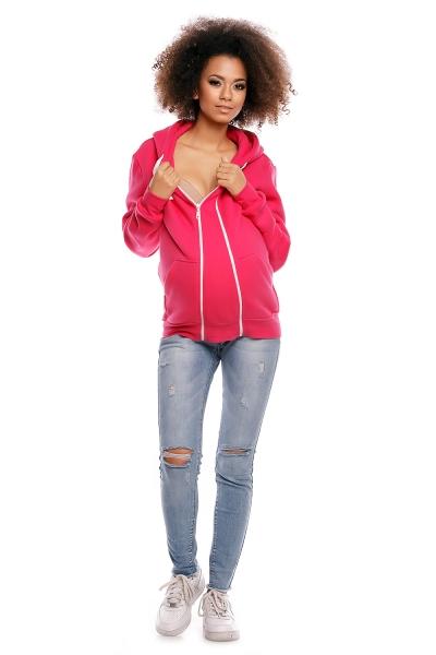 Be MaaMaa Těhotenská mikina VANDA s kapucí - růžová - XXXL (46)