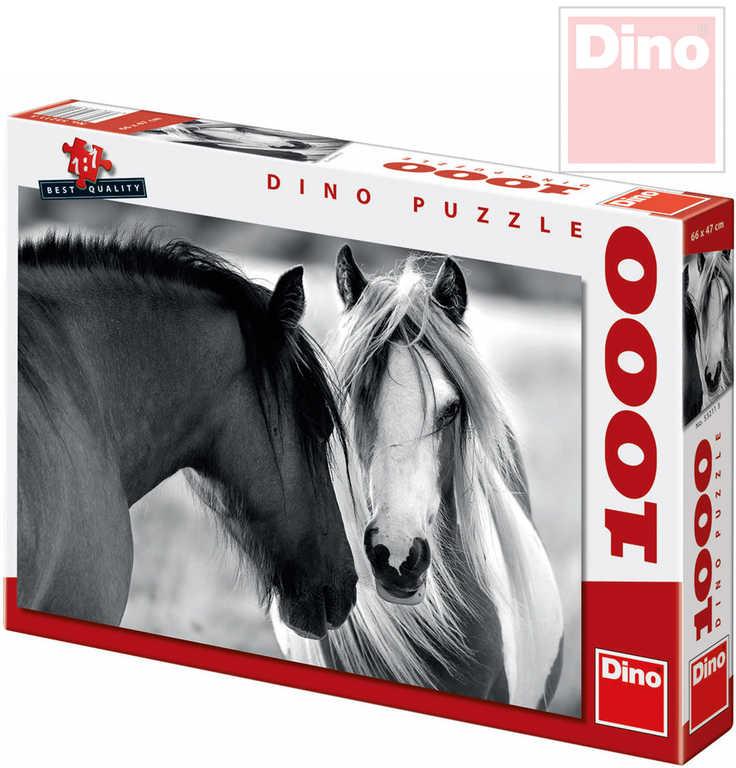 DINO Puzzle Koně XL 66x47cm 1000 dílků černobílé v krabici