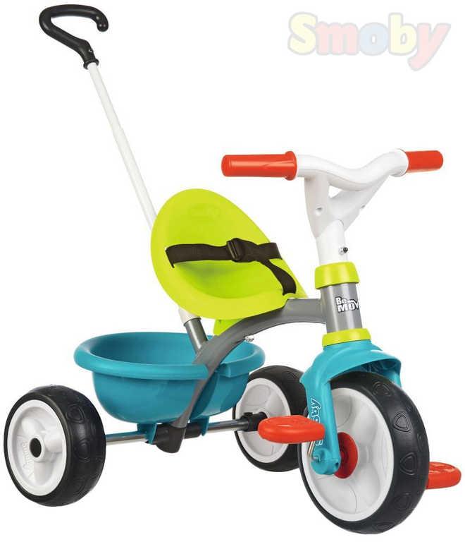 SMOBY Baby tříkolka šlapací Be Move 68x52x52cm modrozelená s vodící tyčí 2v1