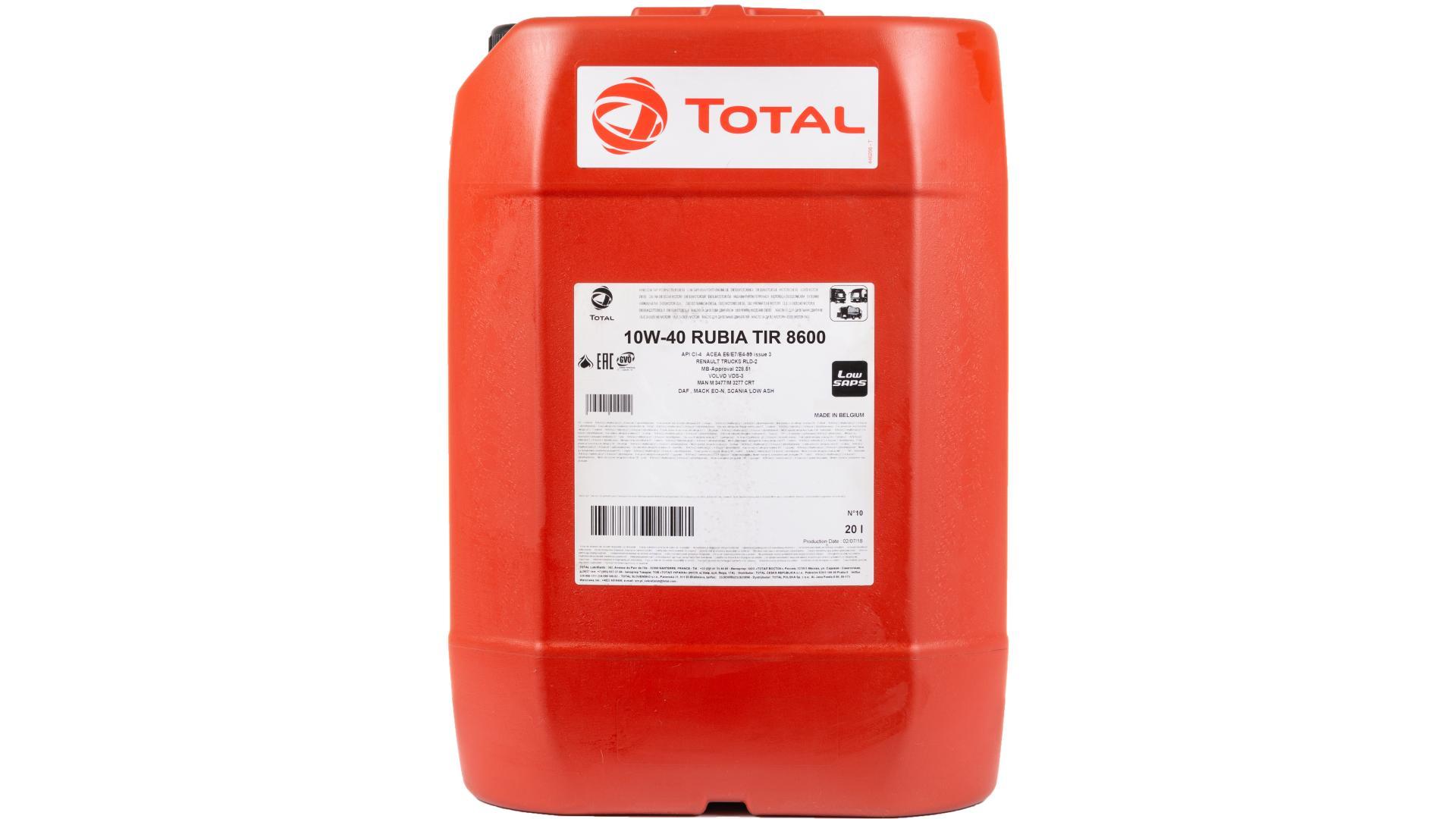 Total 10w-40 Rubia Tir 8600 20L (110801)