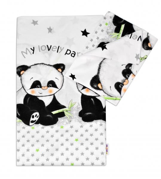 2-dílné bavlněné povlečení 135x100 cm, Panda - bílé - 135x100