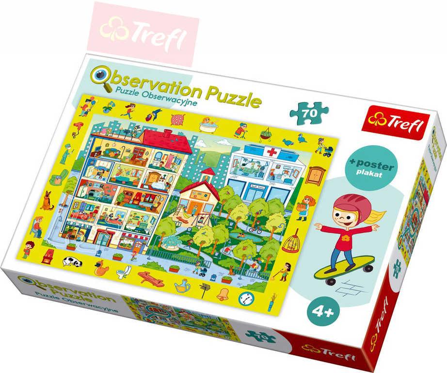 TREFL Puzzle Hledání předměrů MĚSTO 48x34cm set 70 dílků + plakát 115534