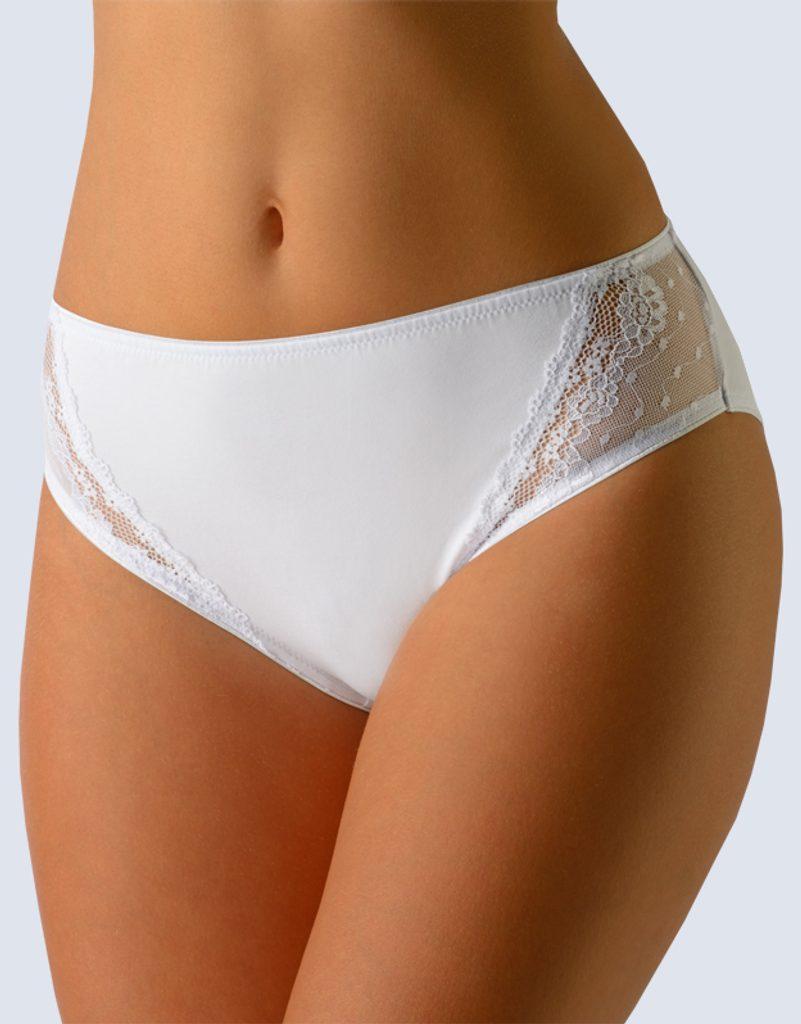 GINA dámské kalhotky klasické, širší bok, šité, s krajkou, jednobarevné Delicate 10145P - bílá - 54/56