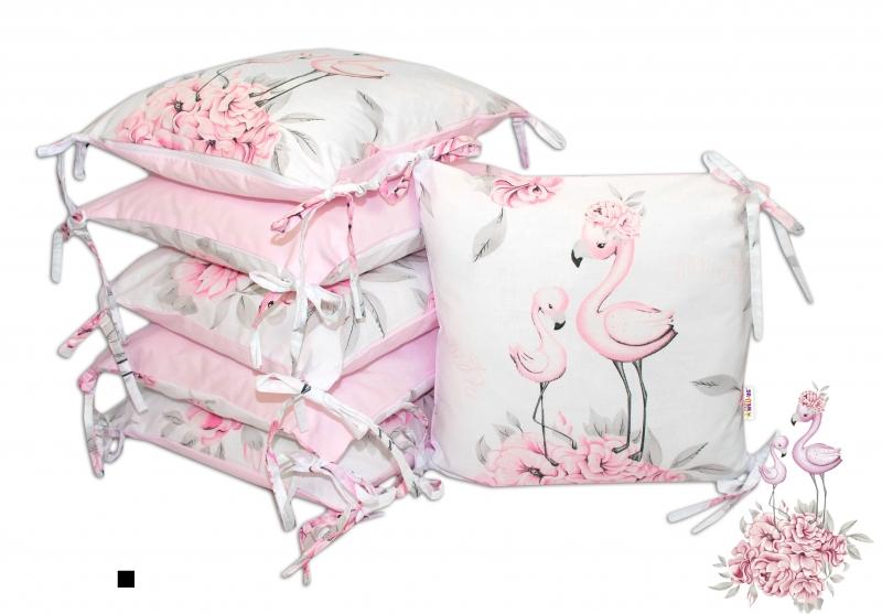 Bavlněný polštářkový mantinel Baby Nellys Plameňák - růžový