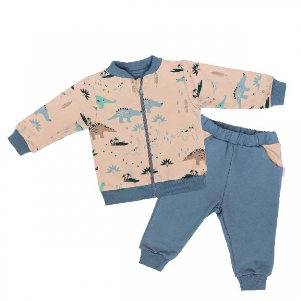 mamatti-detska-teplakova-souprava-zapinani-na-zip-dinosaurus-kremova-modra-vel-98-98-24-36m