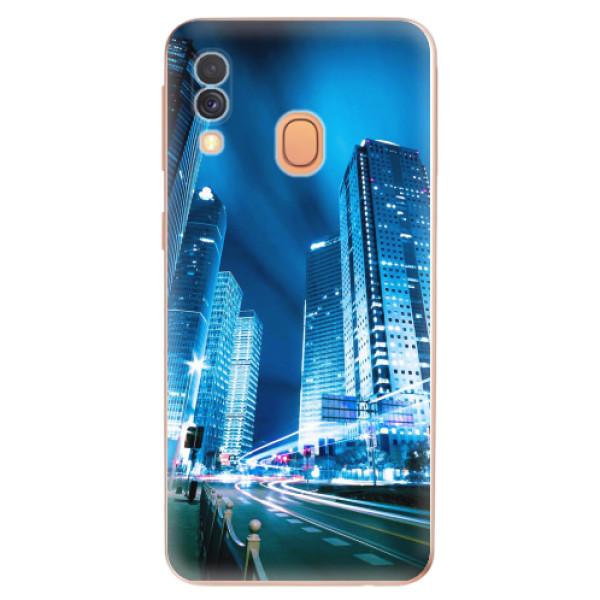 Odolné silikonové pouzdro iSaprio - Night City Blue - Samsung Galaxy A40