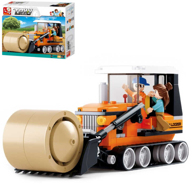 SLUBAN Stavebnice TOWN Farma Kombajn set 165 dílků + figurka 2ks plast