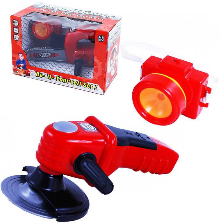 Nářadí dětské plastové na baterie set se svítilnou 3 druhy v krabici Zvuk Světlo