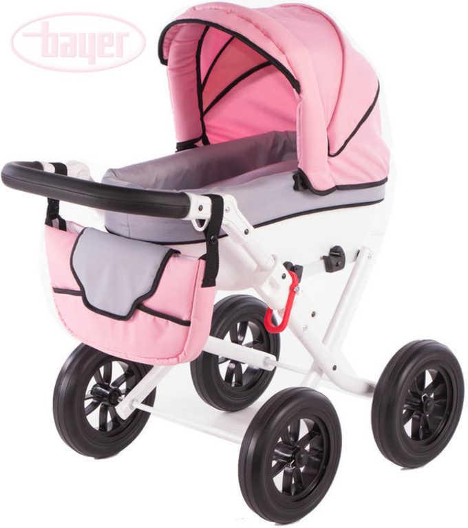 BAYER Kočárek hluboký VOGUE růžová/šedá pro panenku miminko