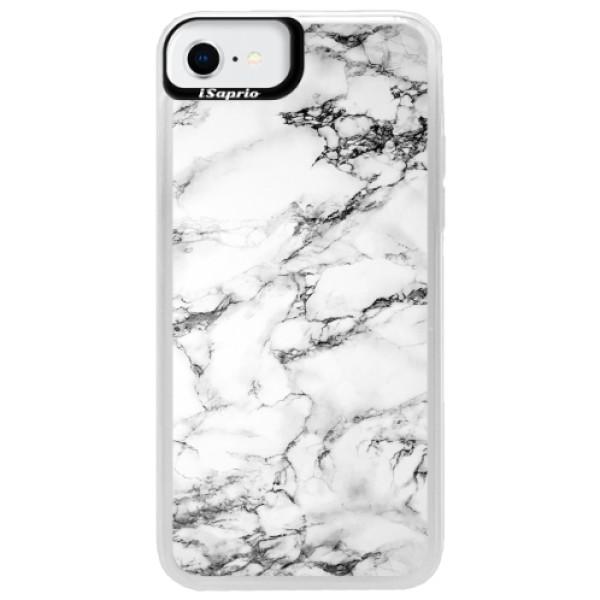 Neonové pouzdro Blue iSaprio - White Marble 01 - iPhone SE 2020