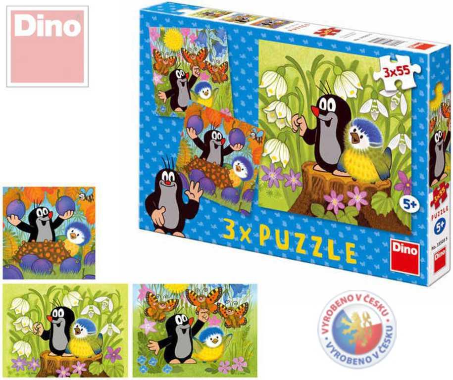 DINO Puzzle 3 x 55 dílků KRTEK a ptáček Krteček