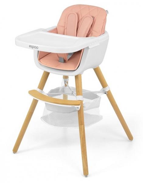 Milly Mally Luxusní jídelní stoleček, křesílko Espoo 2v1, věk: 6 - 36m, růžová