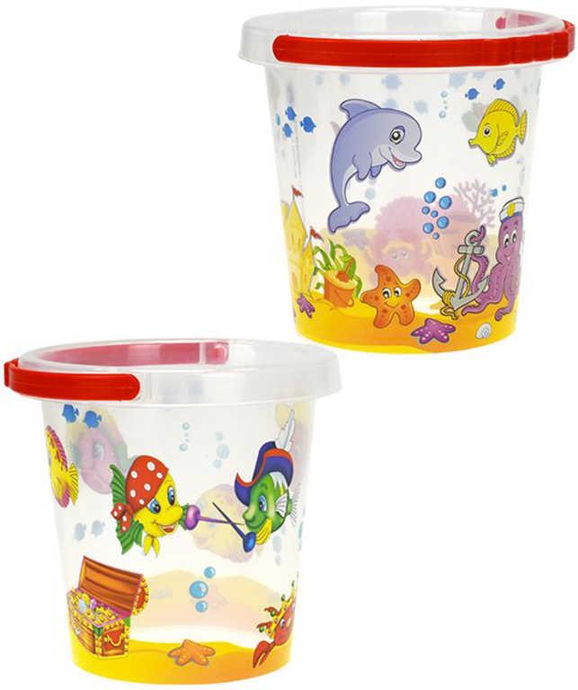 Baby kbelík na písek podmořský svět 14 cm průhledný s obrázky - 2 druhy