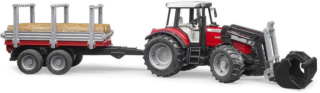 BRUDER 02046 (2046) Set traktor nakladač Massey Ferguson 7480 + přepravník s kládami