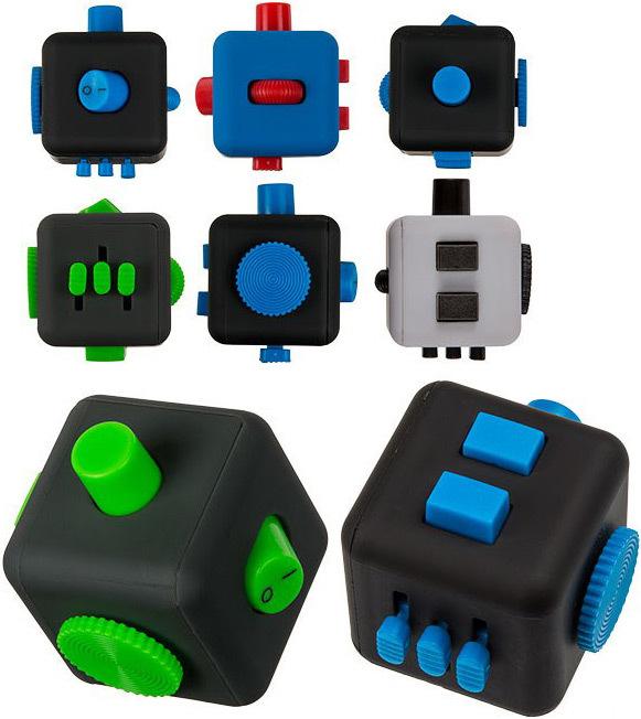 HRA Kostička antistresová Fingr 3,5cm Fidget Cube 4 barvy plast