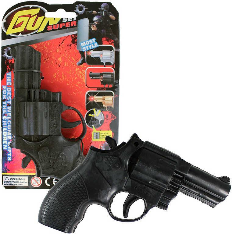 Pistole dětský kolt 15cm na baterie na kartě plast Světlo Zvuk