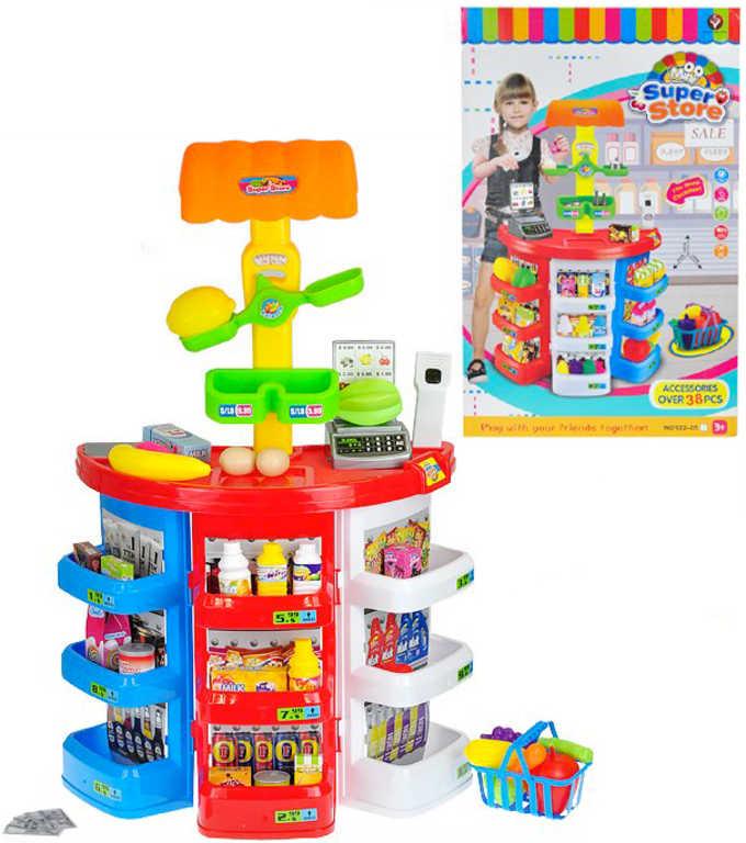 Obchod potraviny herní set s doplňky set 38ks na baterie Světlo Zvuk