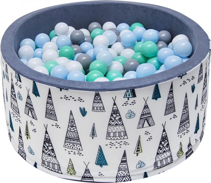Bazén pro děti 90x40cm - týpí, šedý s balónky