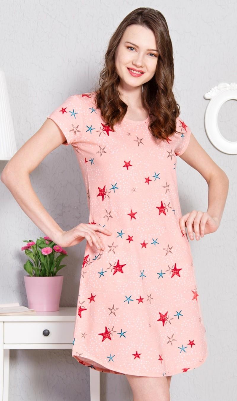 Dámské domácí šaty s krátkým rukávem Hvězdy - Světle
