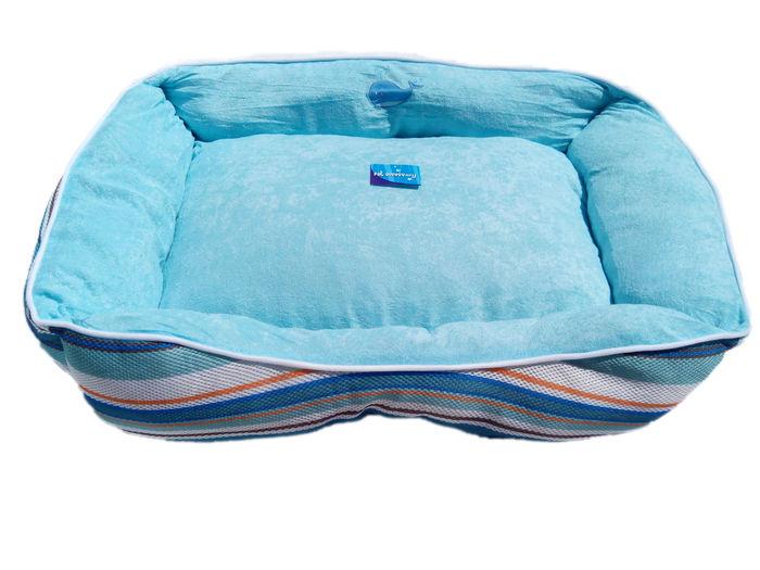 Pruhovaný psí pelech modrý - 75x58 cm