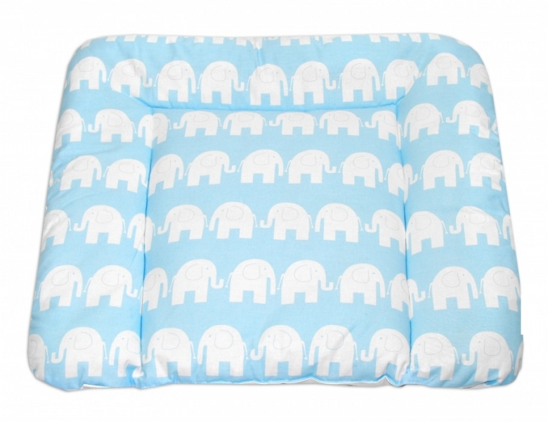 Přebalovací podložka 70x75cm, Sloni bílí v modré