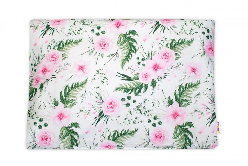 Baby Nellys Povlak na polštářek Flowers, 40x60 cm - růžový