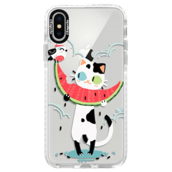 Silikonové pouzdro Bumper iSaprio - Cat with melon - iPhone X
