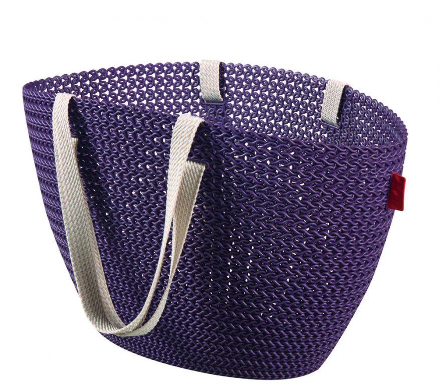 Taška nákupní,pikniková bag imitace háčkování - fialová CURVER