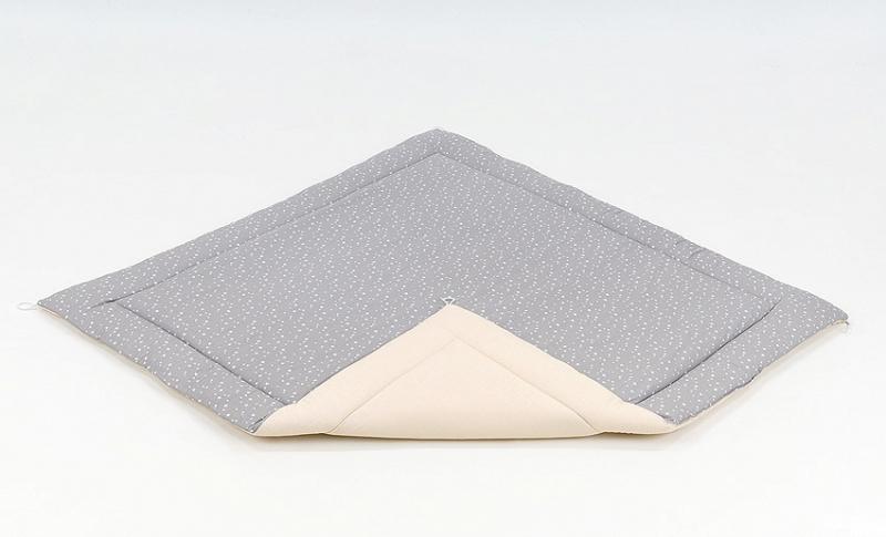 Podložka do stanu pro děti teepee, týpí - béžová/mini hvězdičky bílé na šedém
