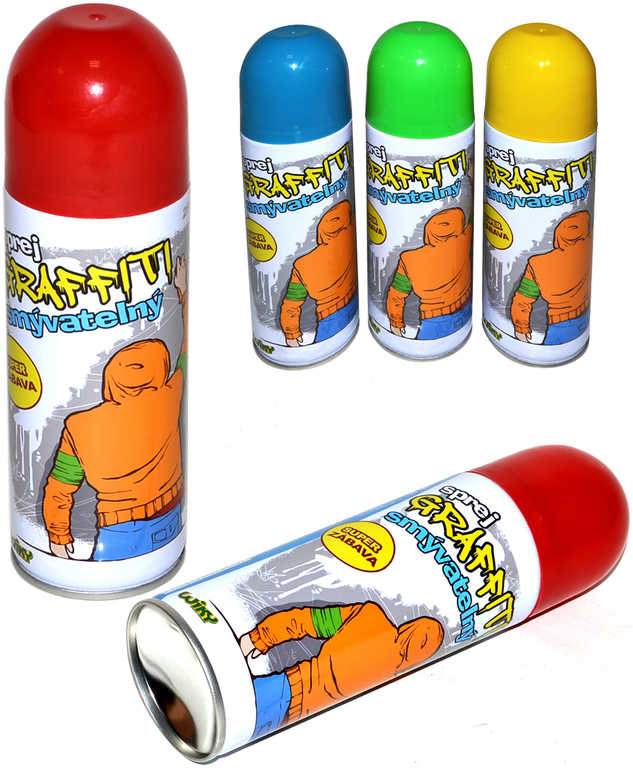 Křídy dětské tekuté smývatelné ve spreji 250 ml graffiti spray - 4 barvy