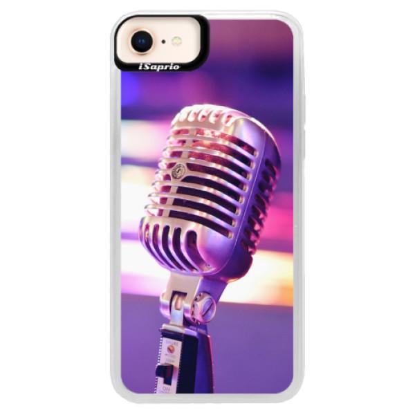 Neonové pouzdro Blue iSaprio - Vintage Microphone - iPhone 8