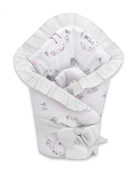 baby-nellys-rychlozavinovacka-80-x-80-cm-s-volankem-a-stuhou-kolousek-ruzova-seda