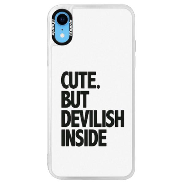 Neonové pouzdro Pink iSaprio - Devilish inside - iPhone XR