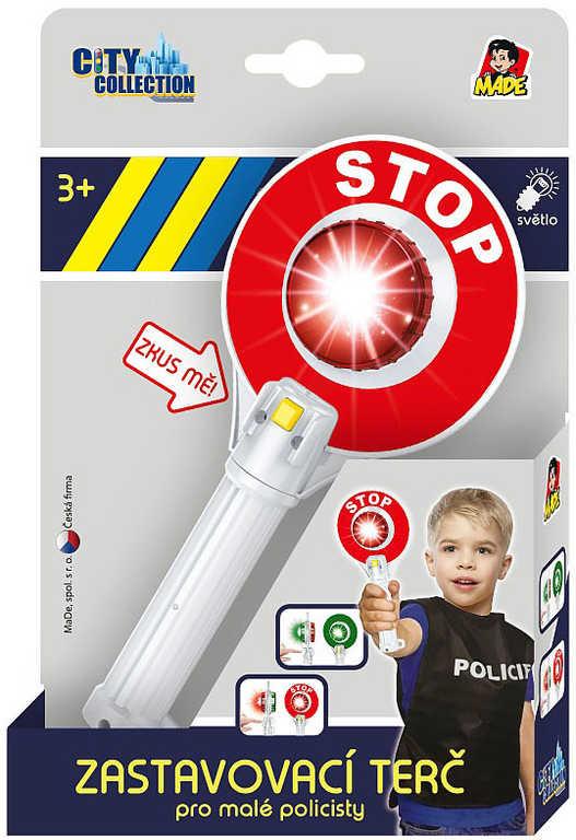 Plácačka policejní 23cm zastavovací terč plastový na baterie Světlo