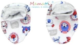 Botičky/ponožtičky BAVLNA Mamatti - LION - potisk lion