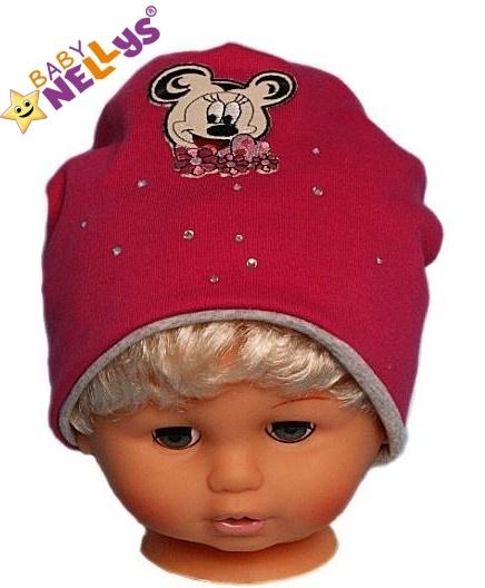 Bavlněná čepička Myška s kamínky Baby Nellys ® - sytě růžová - 48/52 čepičky obvod