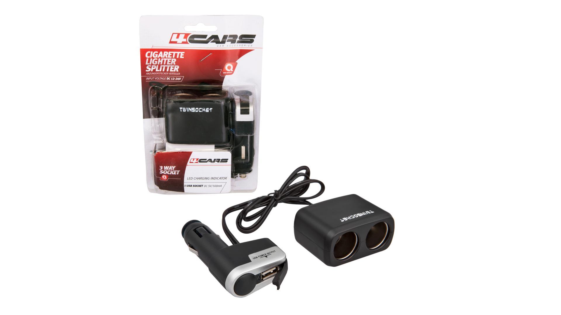 4CARS Rozdvojka zapalovače 12/24V S USB