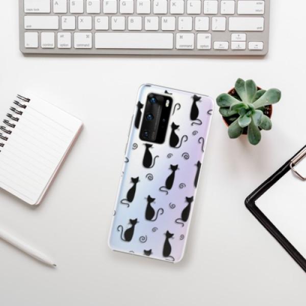 Plastové pouzdro iSaprio - Cat pattern 05 - black - Huawei P40 Pro