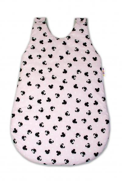 Bavlněný spací vak Baby Nellys, Minnie, 74 cm - růžový/šedý
