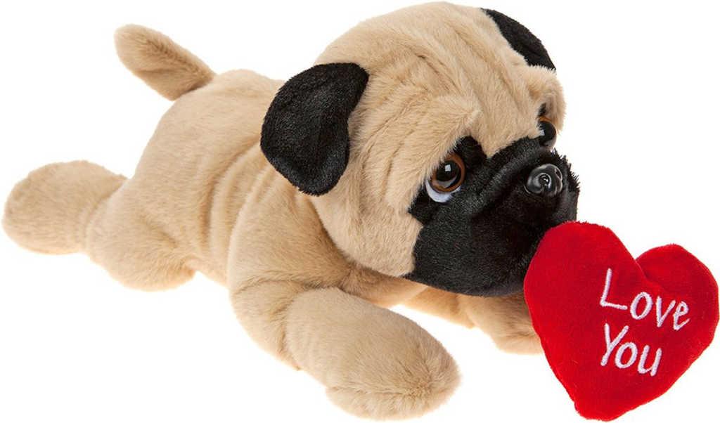 PLYŠ Pes mopslík ležící 30cm se srdíčkem I Love You *PLYŠOVÉ HRAČKY*
