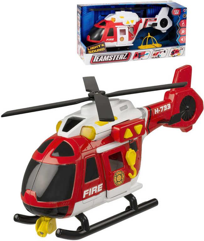 Teamsterz helikoptéra Hasiči 40cm funkční set s doplňky na baterie Světlo Zvuk