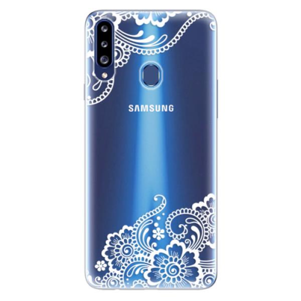 Odolné silikonové pouzdro iSaprio - White Lace 02 - Samsung Galaxy A20s