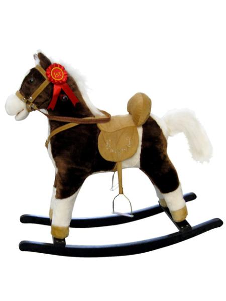 Houpací koník s melodií Milly Mally Mustang tmavě hnědý - hnědá