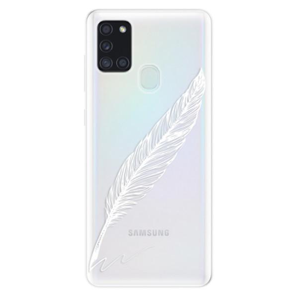 Odolné silikonové pouzdro iSaprio - Writing By Feather - white - Samsung Galaxy A21s