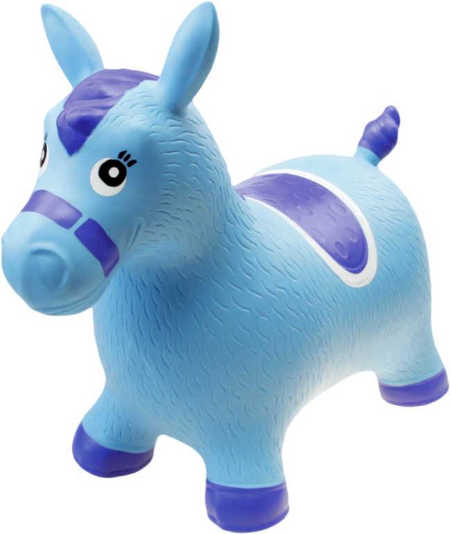 Baby hopsadlo nafukovací koník modrý set skákadlo s pumpičkou