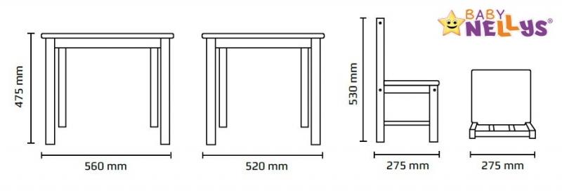 BABY NELLYS Dětský nábytek - 3 ks, stůl s židličkami - bílá, A/02